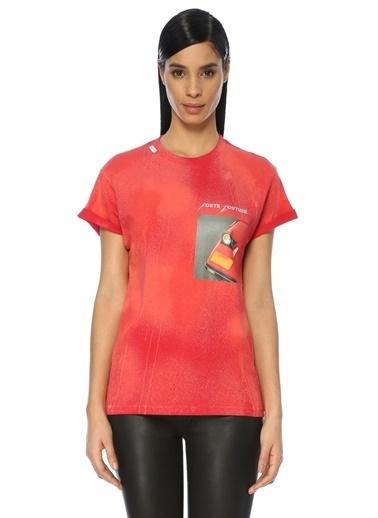 Forte Couture Baskılı Bisiklet Yaka Tişört Kırmızı